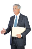 Middle aged Businessman Holding Folder Handshake Stock Photo