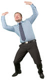 Middle-aged businessman holding something up on white background Stock Images