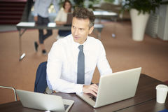 Middle aged businessman with laptop Royalty Free Stock Photos