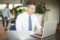 Middle aged businessman with laptop Royalty Free Stock Photography