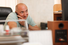 Middle-aged businessman on the phone Stock Photo