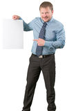 Middle-aged businessman standing with blank list of paper on white background Stock Images