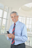 Middle aged Businessman Texting Royalty Free Stock Photos