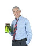 Middle aged Businessman With Two Beers Royalty Free Stock Image