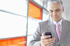 Middle aged businessman using cell phone at railroad station Stock Photos