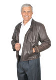 Middle aged Businessman wearing Leather Jacket Stock Photos