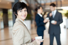 Middle aged businesswoman coffee Royalty Free Stock Photography