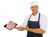Middle aged butcher meat Stock Photos