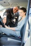 Middle aged car salesman customer Royalty Free Stock Photo
