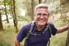 Middle aged Caucasian man taking a break leaning on a tree during a hike in a forest, smiling to camera, close up stock images