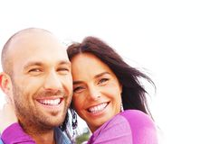 Middle-aged couple. Happy smiling middle-aged couple outdoors Royalty Free Stock Image