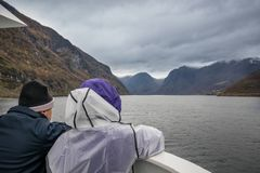 Couple on the fiord cruise Stock Photo