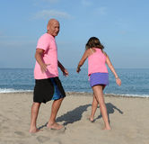 Middle aged couple of a beach Stock Photography