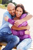 Middle-aged couple on a beach Royalty Free Stock Photo