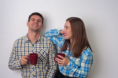 Portrait of man and woman stock images
