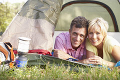 Middle Aged Couple On Camping Holiday In Countryside Royalty Free Stock Photo
