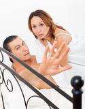 Middle-aged couple caught during adultery Stock Photography