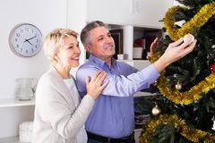 Middle-aged couple decorate fir-tree for holidays of Christmas a Royalty Free Stock Images