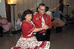 Couple dancing at the square dance in Bowie, Maryland stock photography