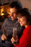 Middle Aged Couple  With Glass Of Champagne Royalty Free Stock Image