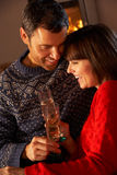 Middle Aged Couple  With Glass Of Champagne Stock Image