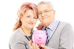 Middle aged couple holding a piggy bank Stock Photos