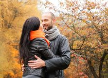 Middle-aged couple outdoors on autumn day Stock Images
