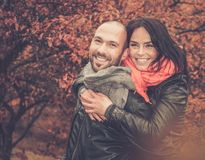 Middle-aged couple outdoors on autumn day Stock Photography