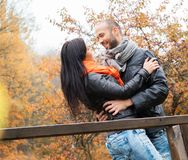 Middle-aged couple outdoors on autumn day Royalty Free Stock Image