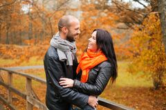 Middle-aged couple outdoors on autumn day Royalty Free Stock Photos