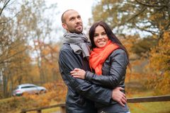 Middle-aged couple outdoors on an autumn day Royalty Free Stock Images