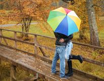 Middle-aged couple outdoors on an autumn day Royalty Free Stock Photos