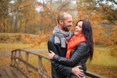 Middle-aged couple outdoors on an autumn day Stock Photography