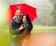 Middle-aged couple outdoors on autumn day Royalty Free Stock Photography