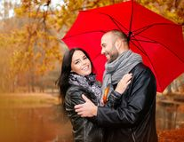 Middle-aged couple outdoors on autumn day Royalty Free Stock Photo