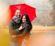 Middle-aged couple outdoors on autumn day Stock Image