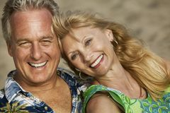 Middle-Aged couple outdoors (close-up) (portrait) Stock Photography
