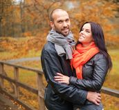 Middle-aged couple outdoors on nautumn day Royalty Free Stock Image