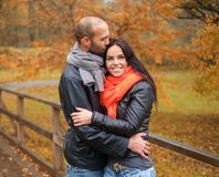Middle-aged couple outdoors on nautumn day Stock Photography