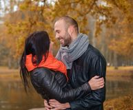 Middle-aged couple outdoors on nautumn day Stock Image