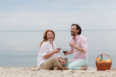 Middle-aged couple in picnic Royalty Free Stock Photo