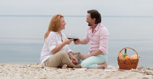 Middle-aged couple in picnic Royalty Free Stock Images