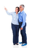 Middle aged couple pointing Royalty Free Stock Photos