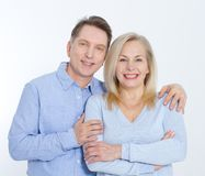 Middle aged Couple portrait on white background. royalty free stock photos