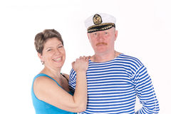 Middle aged couple posing as sailors Stock Photo