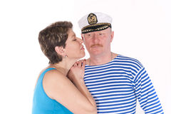 Middle aged couple posing as sailors Royalty Free Stock Image