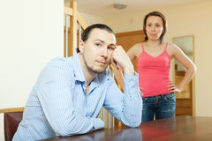Middle-aged couple after quarrel at home Royalty Free Stock Photos