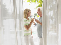 Middle Aged Couple Toasting Champagne Flutes Royalty Free Stock Photos