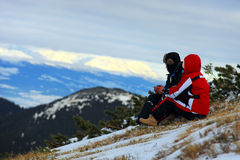 Middle-aged couple watching mountains Stock Images