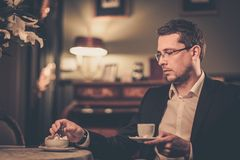 Middle-aged with cup of coffee Stock Photo